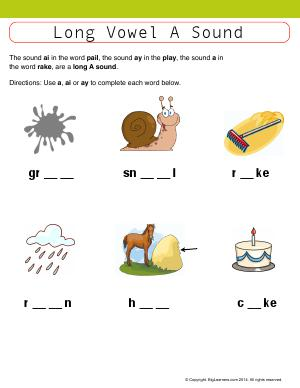 Preview image for worksheet with title Long Vowel A Sound (a, ai, ay)