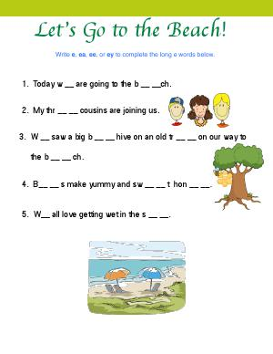 Preview image for worksheet with title Let's Go to the Beach!