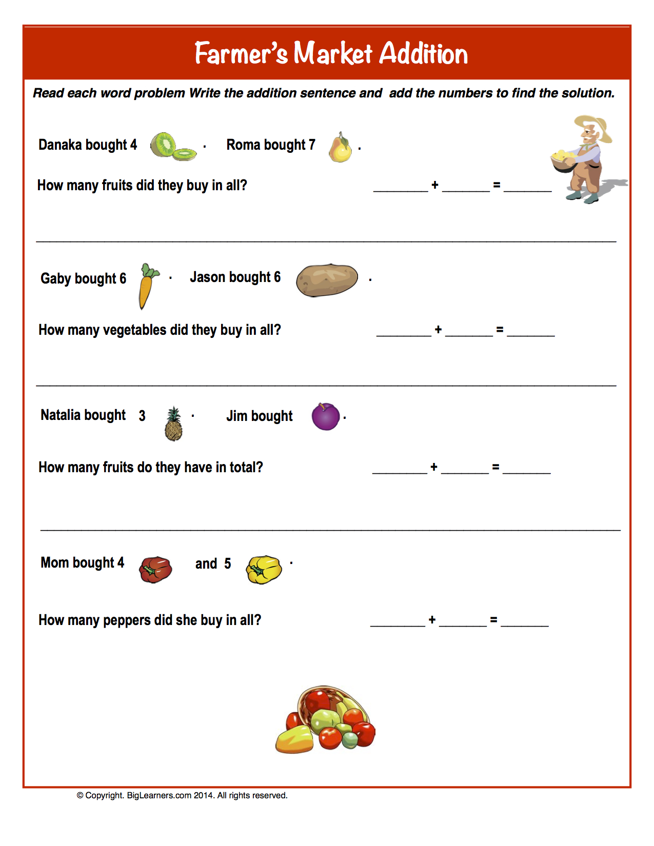 Preview image for worksheet with title Farmer's Market Addition