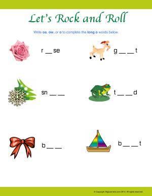 Preview image for worksheet with title Let's Rock and Roll (Long vowel O)