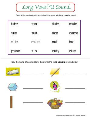 Preview image for worksheet with title Long Vowel U Sound