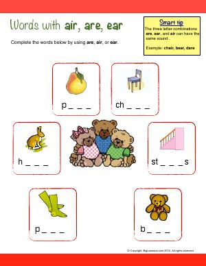 Preview image for worksheet with title Words With : air, are, ear