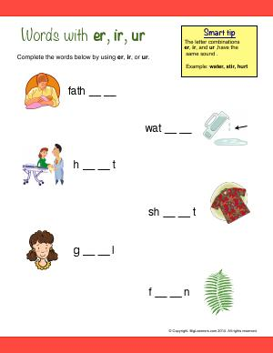 Preview image for worksheet with title Words With : er, ir, ur