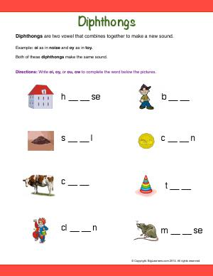 Preview image for worksheet with title Diphthongs (oi, oy, ou, ow)