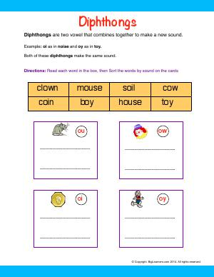 Preview image for worksheet with title Diphthongs