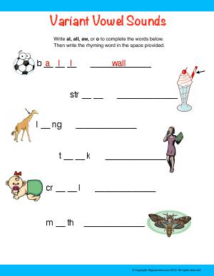 Preview image for worksheet with title Variant Vowel Sounds (al, all, aw, o)