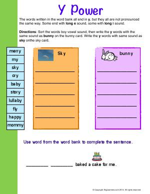 Preview image for worksheet with title Y Power
