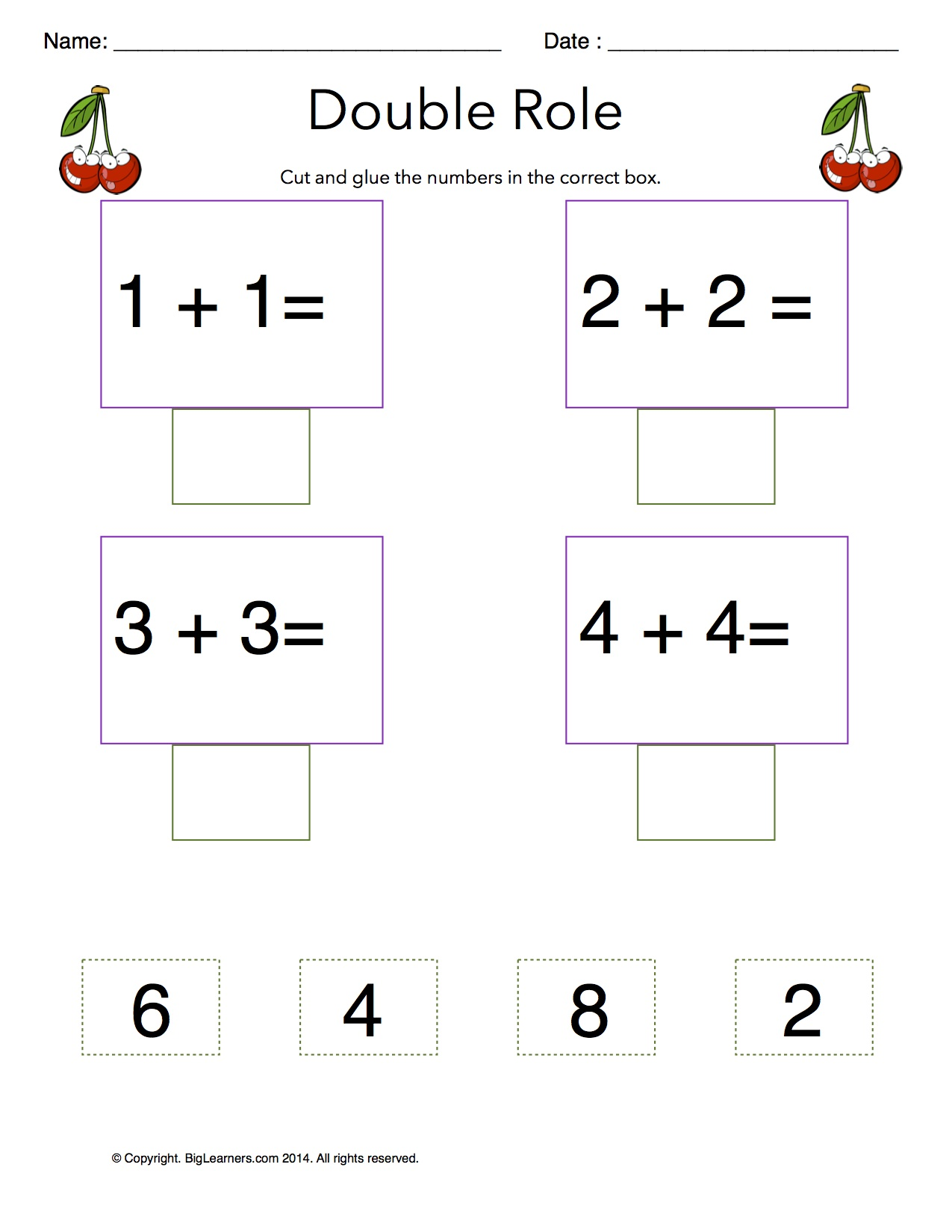 Free math worksheets for 1st grade doubles