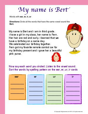 Preview image for worksheet with title My Name Is Bert ( Words With : ear, er, ir, ur )