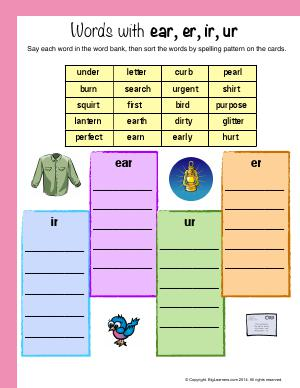 Preview image for worksheet with title Words With : ear, er, ir, ur