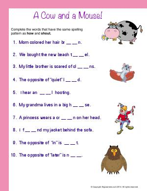 Preview image for worksheet with title A Cow and a Mouse!