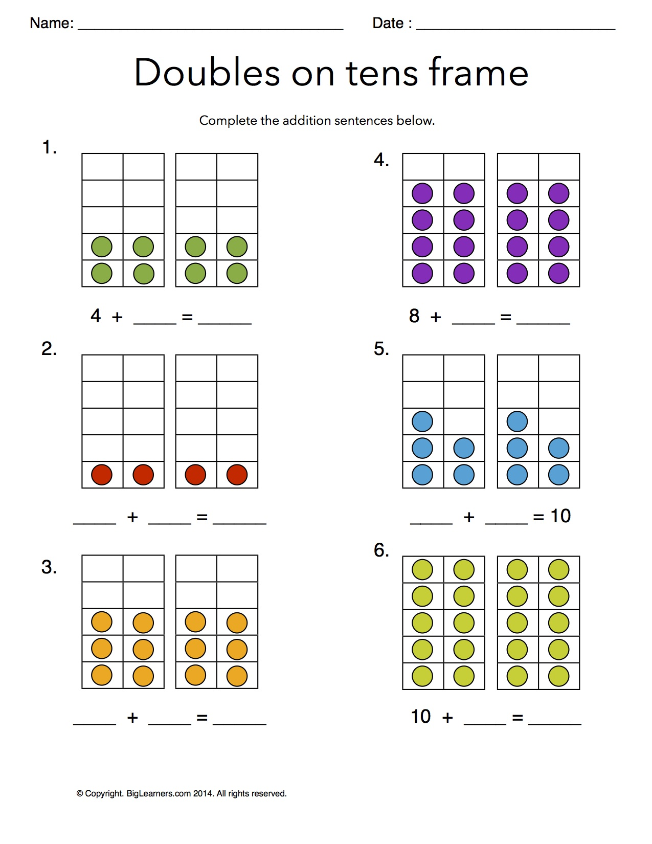 grade   free common core math worksheets  biglearners preview image for worksheet with title doubles on tens frames
