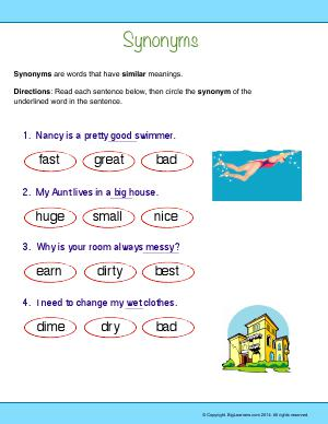 Preview image for worksheet with title Synonyms