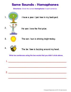 Preview image for worksheet with title Same Sounds - Homophones