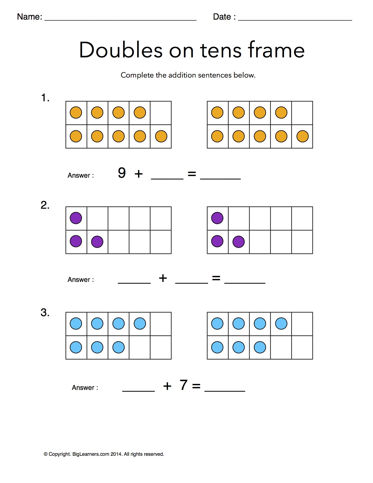 Preview image for worksheet with title Doubles on Tens Frames