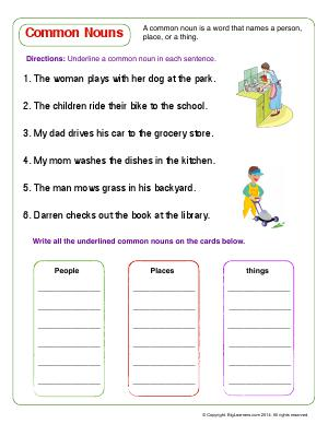 Preview image for worksheet with title Common Nouns