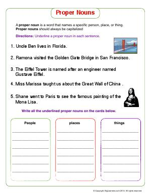 Preview image for worksheet with title Proper Nouns