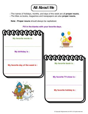 Preview image for worksheet with title All About Me