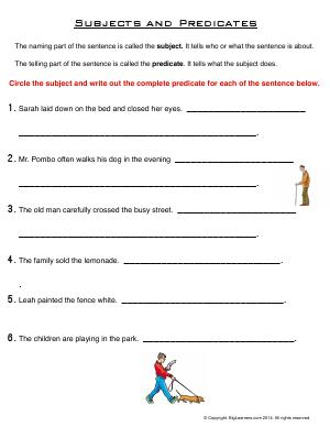 Preview image for worksheet with title Subjects and Predicates