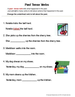 Preview image for worksheet with title Past Tense Verbs