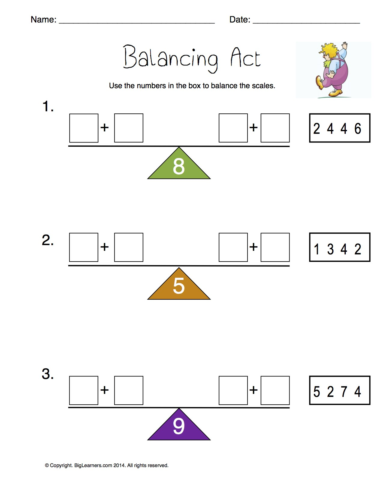 Preview image for worksheet with title Balancing Act