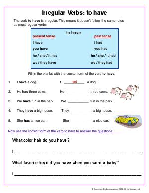 Preview image for worksheet with title Irregular Verbs : to have