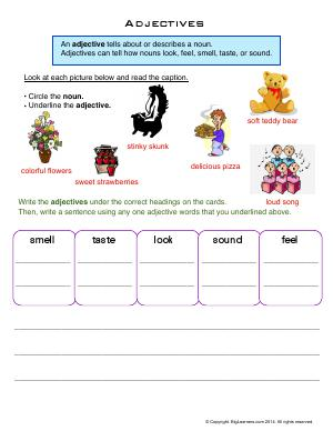 Preview image for worksheet with title Adjectives