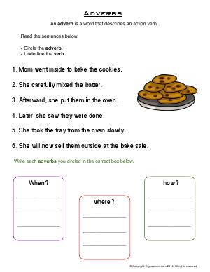Preview image for worksheet with title Adverbs