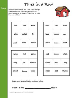 Preview image for worksheet with title Three In a Row (Nouns)