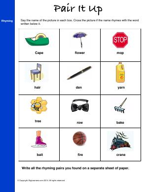 Preview image for worksheet with title Pair It Up