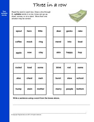 Preview image for worksheet with title Three In a Row (2-Syllable Words)