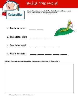 Preview image for worksheet with title Build The Word