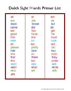 Preview image for worksheet with title Dolch Sight Word Primer List