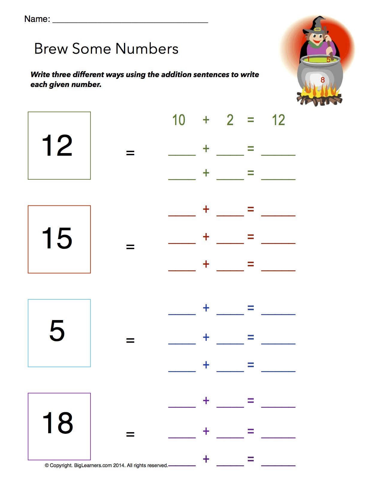 Preview image for worksheet with title Brew Some Numbers