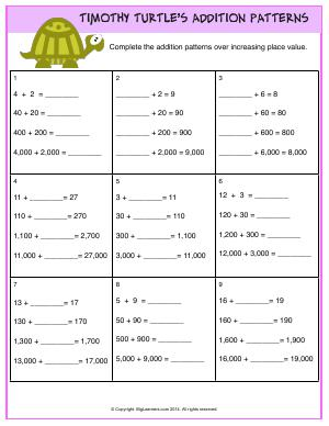 Preview image for worksheet with title Timothy Turtle's Addition Patterns