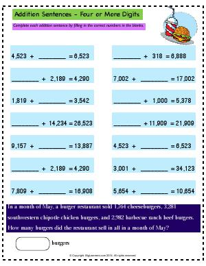 Preview image for worksheet with title Addition Sentences - Four or More Digits
