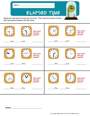 Preview image for worksheet with title Elapsed Time