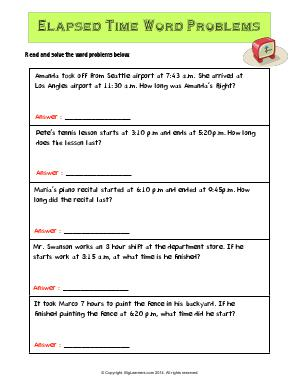 Preview image for worksheet with title Elapsed Time Word Problems