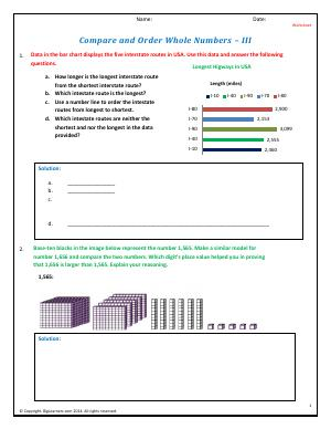 Preview image for worksheet with title Compare and Order Whole Numbers - III