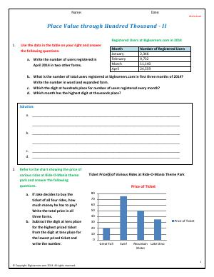 Preview image for worksheet with title Place Value Through Hundred Thousand - II