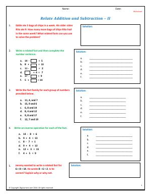 Preview image for worksheet with title Relate Addition and Subtraction - II
