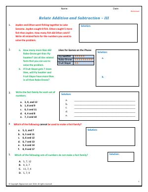 Preview image for worksheet with title Relate Addition and Subtraction - III