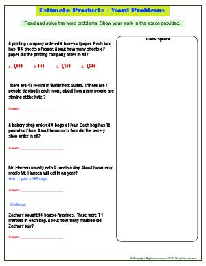 Preview image for worksheet with title Estimate Products : Word Problems