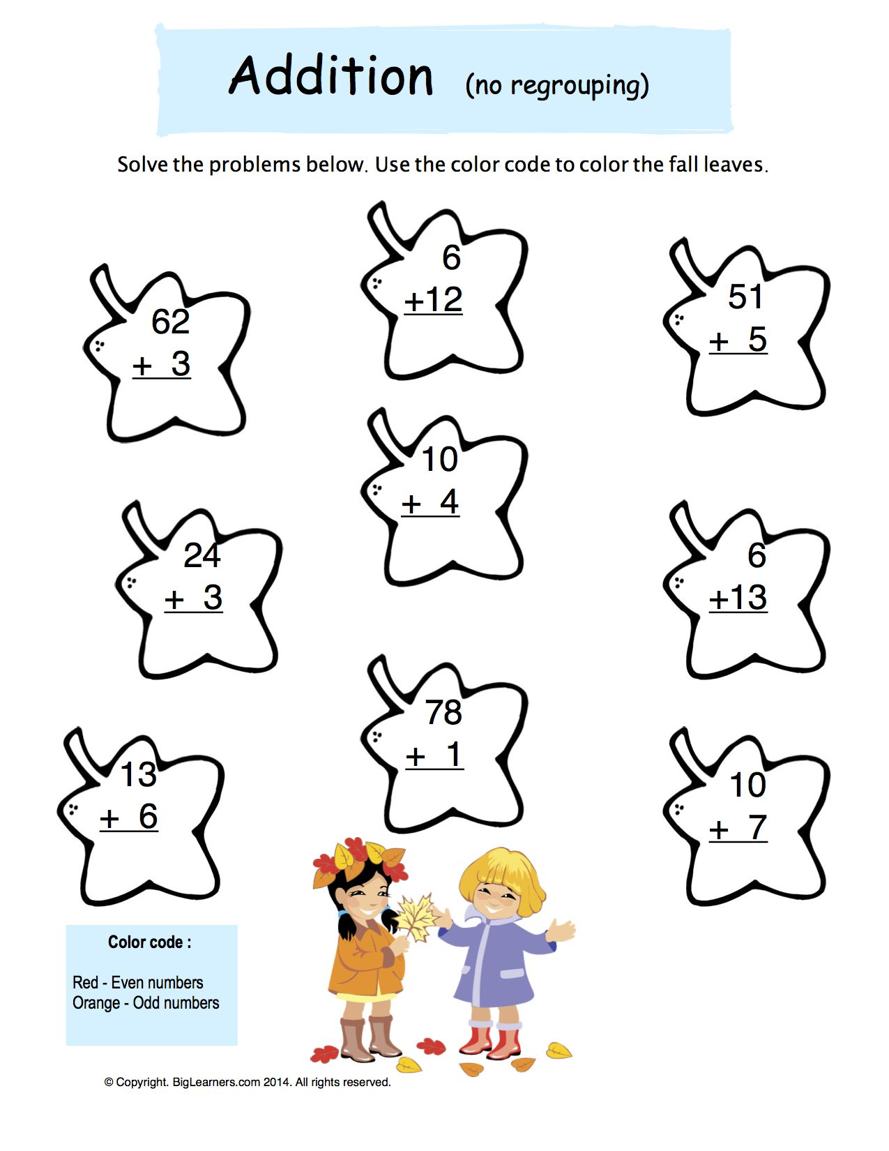 Preview image for worksheet with title Addition (no regrouping)