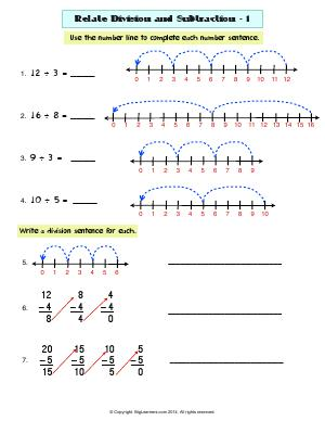 Printables Grade 3 Common Core Math Worksheets grade 3 free common core math worksheets biglearners preview image for worksheet with title related division and subtraction 1