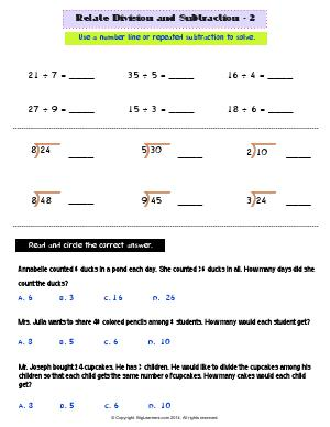 Preview image for worksheet with title Related Division and Subtraction - 2
