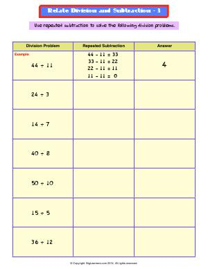 Preview image for worksheet with title Related Division and Subtraction - 3