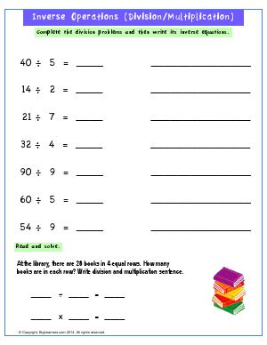 Preview image for worksheet with title Inverse Relationship (Division/Multiplication)