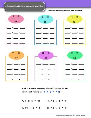 Preview image for worksheet with title Division/Multiplication Fact Families
