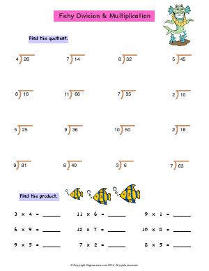 Preview image for worksheet with title Fishy Division and Multiplication